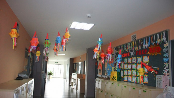 School was decorated with very colourful lanterns (2)